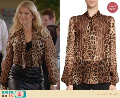 Dolce & Gabbana Tie Neck Leopard Blouse worn by Ari Graynor on Bad Teacher