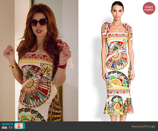 Dolce & Gabbana Tie-Shoulder Foulard-Print Dress worn by Elena Satine on Revenge
