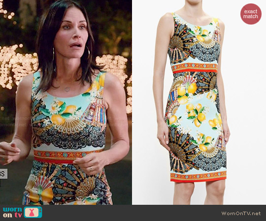 Dolce & Gabbana Lemon Print Dress worn by Courtney Cox on Cougar Town