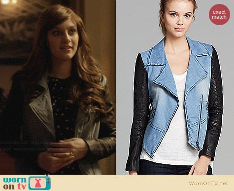Doma Denim and Leather Jacket worn by Aubrey Peeples on Nashville