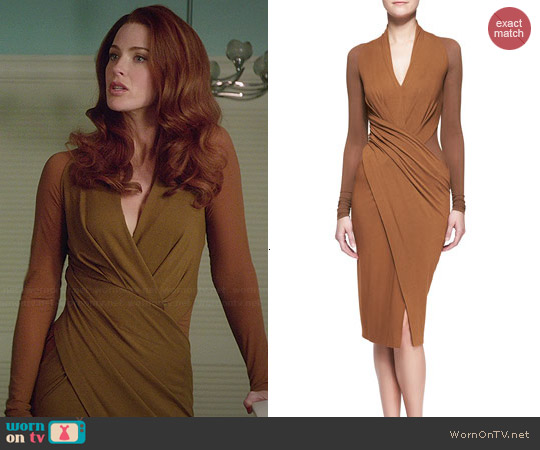 Donna Karan Cool Jersey Draped Long-Sleeve Dress worn by Bridget Regan on Jane the Virgin