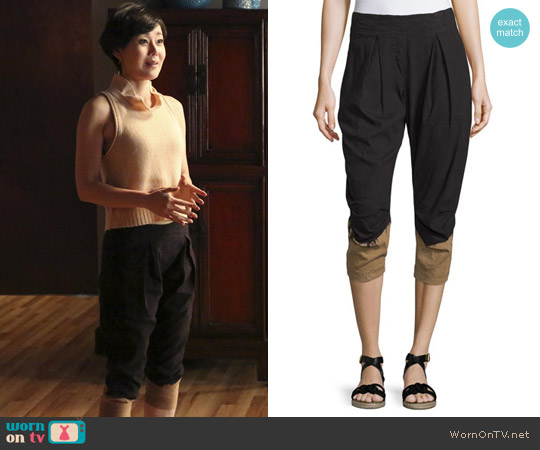 Donna Karan Pleated-Front Two-Tone Capri Pants worn by Karen Rhodes on Mistresses