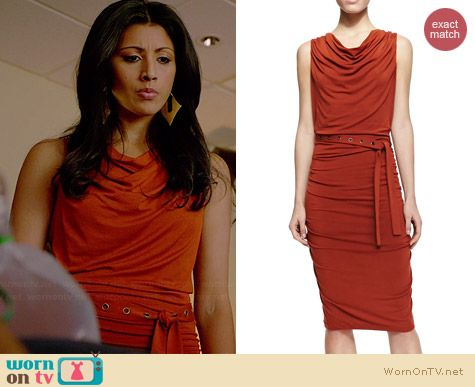 Donna Karan Ruched Jersey Self-Belted Dress worn by Reshma Shetty on Royal Pains