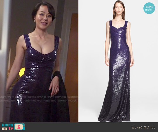 Donna Karan Sweetheart Neckline Sequin Gown worn by Yunjin Kim on Mistresses