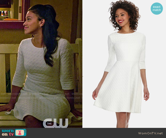 Donna Morgan Chevron Jacquard Knit Fit & Flare Dress worn by Gina Rodriguez on Jane the Virgin