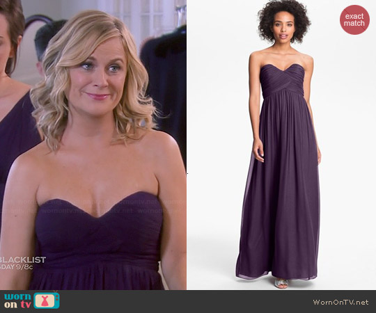 Donna Morgan Laura Gown in Amethyst worn by Amy Poehler on Parks & Rec