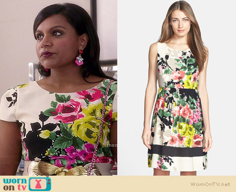 Donna Ricco Floral Crepe de Chine Dress worn by Mindy Kaling on The Mindy Project