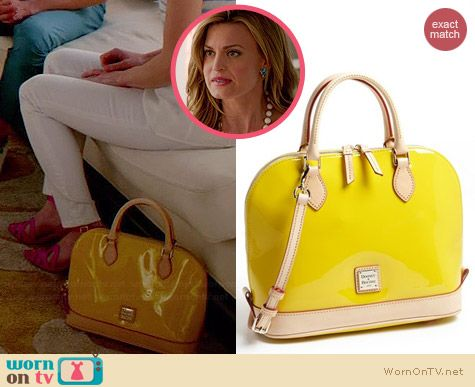 Dooney & Bourke Patent Leather Zip Satchel worn by Brooke D'Orsay on Royal Pains