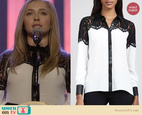 Dora Landa Lance and Faux Leather Trim Shirt worn by Hayden Panettiere on Nashville