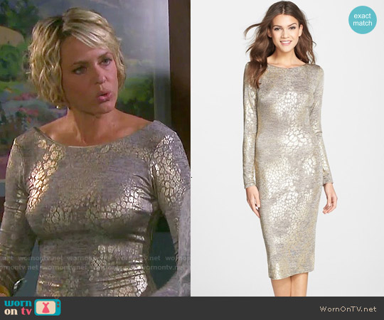 Dress the Population 'Emery' Metallic Jersey Open Back Body-Con Dress worn by Arianne Zucker on Days of our Lives
