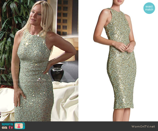 Dress The Population Shawn Sequin Midi Dress in Mint/Gold worn by Sharon Case on The Young & the Restless