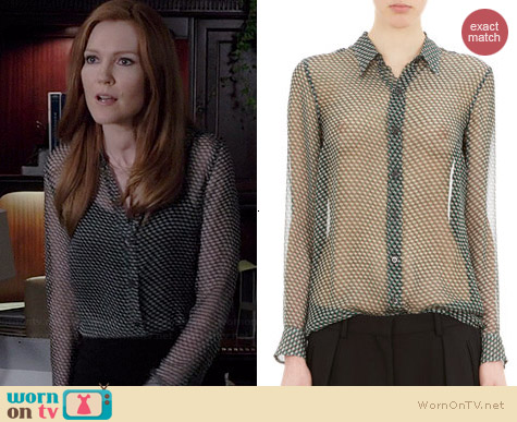Dries Van Noten Geometric Print Silk Blouse worn by Darby Stanchfield on Scandal
