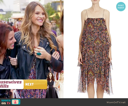 Dries van Noten Shimmer Ikat-Print Tiered Cami Dress worn by Beau Garrett on GG2D