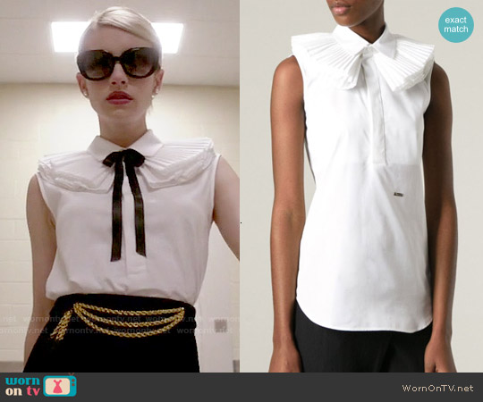 DSquared2 Ruffle Collar Sleeveless Top worn by Emma Roberts on Scream Queens