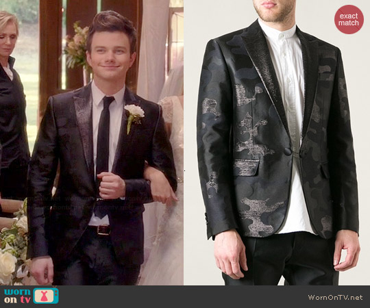 Dsquared2 Camouflage Embroidered Suit worn by Chris Colfer on Glee