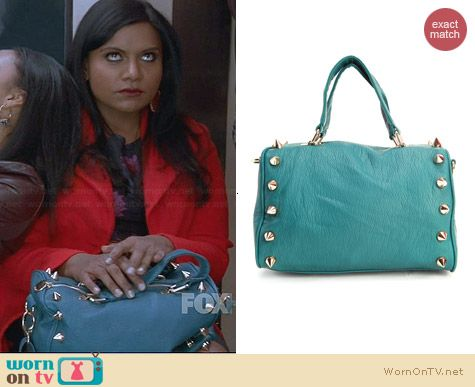 Deux Lux Empire State Duffel in Teal worn by Mindy Kaling on The Mindy Project