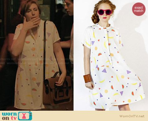 Dusen Dusen Fruit Print Tee Dress worn by Lena Dunham on Girls