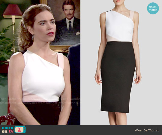 Dylan Grey Color Block Dress worn by Amelia Heinle on The Young & the Restless