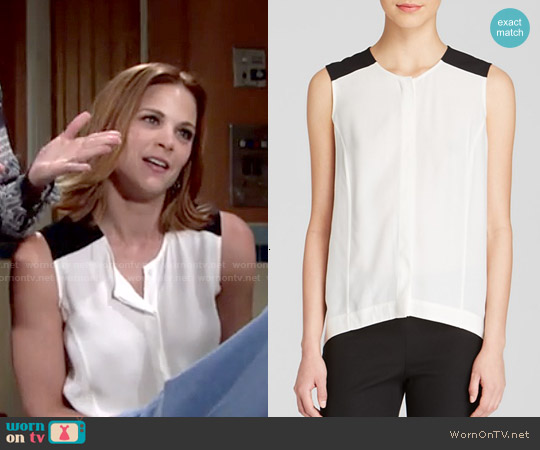 Dylan Grey Color Block Sleeveless Top worn by Gina Tognoni on The Young & the Restless