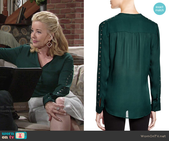 Dylan Gray Grommet Sleeve Silk Blouse worn by Melody Thomas-Scott on The Young & the Restless