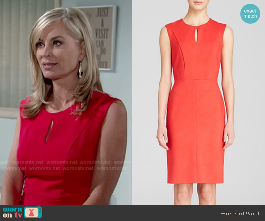 Dylan Grey Keyhole Front Ponte Sheath worn by Eileen Davidson on The Young & the Restless