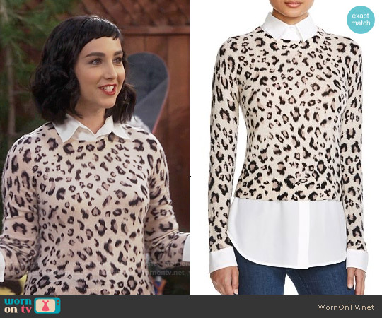 Dylan Gray Leopard Layered Sweater worn by  Molly Ephraim on Last Man Standing