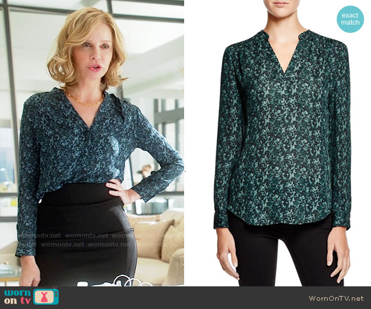 Dylan Grey Printed Silk Blouse worn by Calista Flockhart on Supergirl