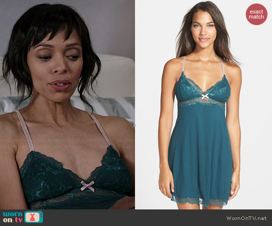 Eberjey Everly Chemise in Evergreen worn by Tamara Taylor on Bones