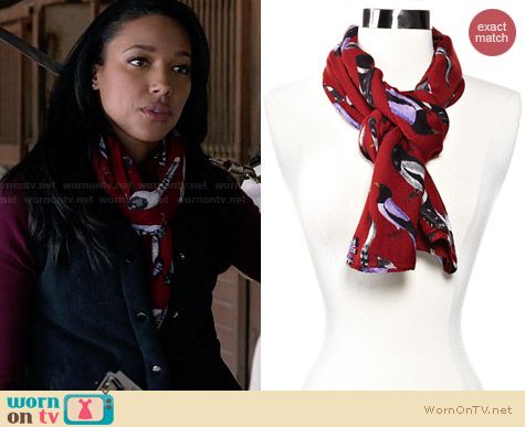 Echo Design Beacon's Bird Scarf in Rust worn by Kylie Bunbury on Twisted