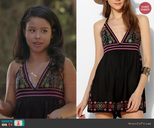 Ecote Lotus Embroidered Open Back Romper worn by Cierra Ramirez on The Fosters