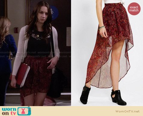 Ecote Sachi High Low Skirt in Red Paisley worn by Troian Bellisario on PLL