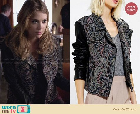 Ecote Tapestry Mix Media Moto Jacket from Urban Outfitters worn by Ashley Benson on PLL