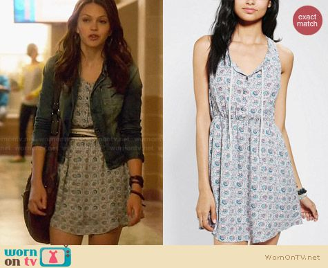 Ecote Tie Neck Tank Dress from Urban Outfitters worn by Aimee Teegarden on Star Crossed