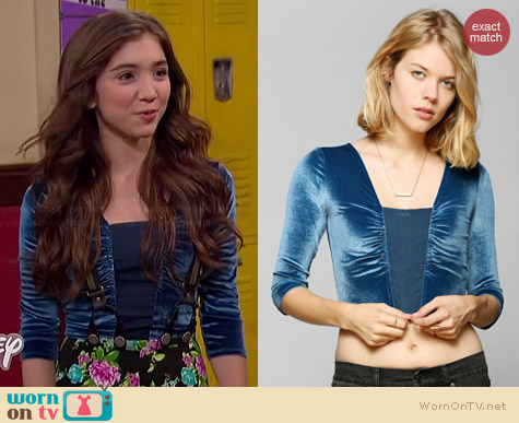 Ecote Bianca Velvet Cropped Top worn by Rowan Blanchard on Girl Meets World