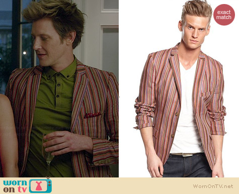 Edge by WD-NY Striped Linen-Blend Blazer worn by Gabrielle Mann on Revenge