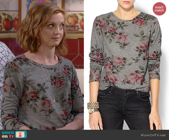 Eight Sixty Floral Sweatshirt worn by Jayma Mays on The Millers