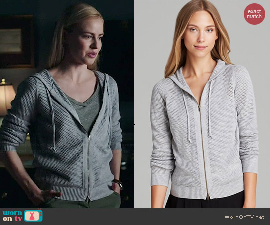 Eileen Fisher Perforated Hoodie worn by Amanda Schull on 12 Monkeys