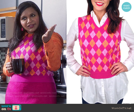 Elana Carello Baby Argyle Vest worn by Mindy Kaling on The Mindy Project