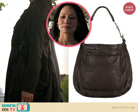 Elementary Bags: All Saints Reptile bag worn by Lucy Liu