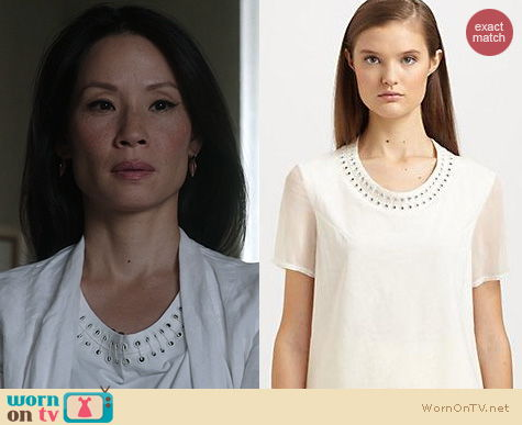 Elementary Fashion: 3.1 Phillip Lim Eyelet and Pin Neckline worn by Lucy Liu