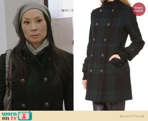 Fashion of Elementary: Alice + Olivia Rhonda Plaid Coat worn by Lucy Liu