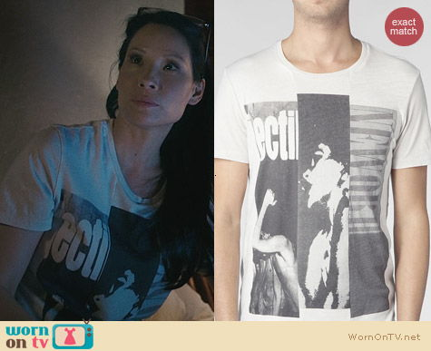 Fashion of Elementary: All Saints Barred Band T-Shirt worn by Lucy Liu