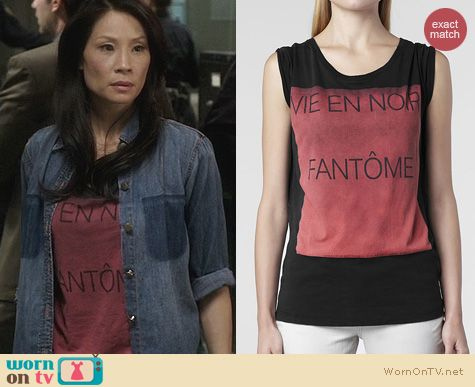 Fashion of Elementary: All Saints Phantom Crew T-Shirt worn by Lucy Liu