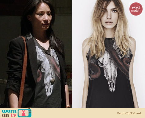 Elementary Fashion All Saints Serpents and Snakes Tee worn by Lucy Liu