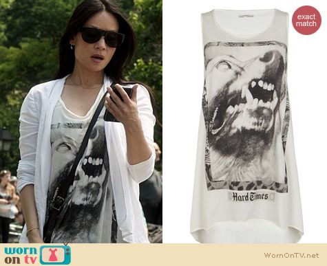 Elementary Fashion: All Saints Snarl Tarot Tee worn by Lucy Liu