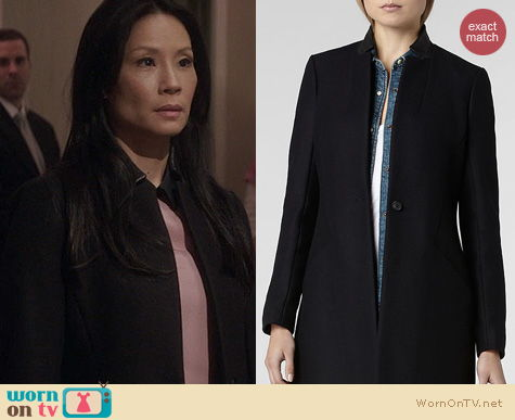 Elementary Fashion: All Saints Vita Leather Wool Coat worn by Lucy Liu