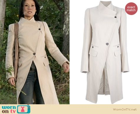 Fashion of Elementary: Ann Demeulemeester Blanche Coat worn by Lucy Liu