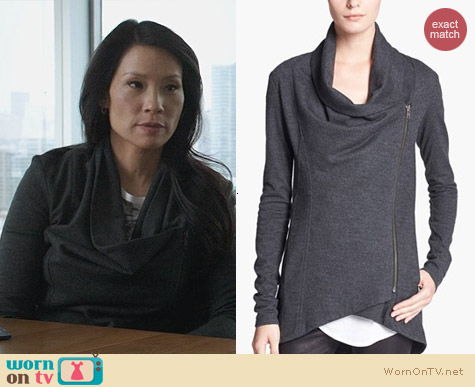 Fashion of Elementary: Helmut Lang Sonar Wool Cardigan worn by Lucy Liu