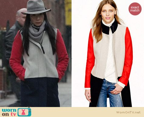 Fashion of Elementary: J. Crew Colorblock Funnelneck coat worn by Lucy Liu