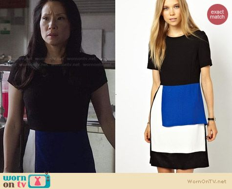 Fashion of Elementary: Peter Jensen Wool Panelled Dress worn by Lucy Liu